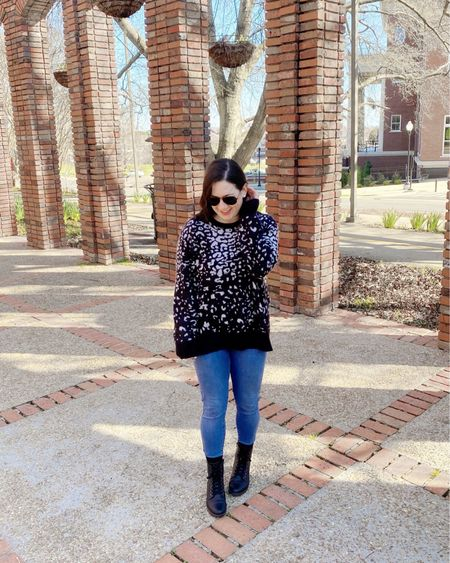 Leopard print...again. The sweater is old, but these jeans and these boots are two of my favorites! http://liketk.it/2LdZB #liketkit @liketoknow.it #LTKcurves #LTKunder50 #LTKsalealert