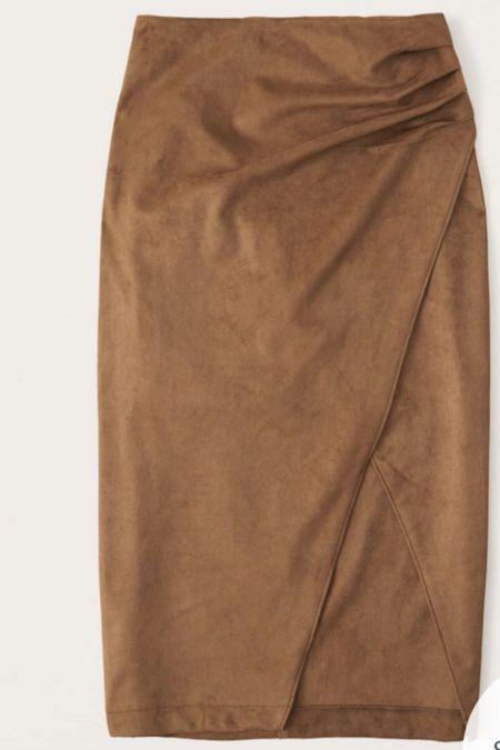 Suede ruched midi skirt   #LTKunder100 #LTKSeasonal #LTKworkwear