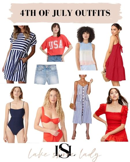4th of July outfit ideas! @liketoknow.it #liketkit http://liketk.it/3iwuq  Red white and blue  4th of July looks Patriotic  USA tee Red top Red dress