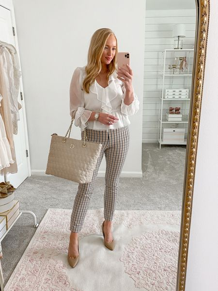 Neutral business casual work outfit   Target work pants - size 6 and run TTS! Very stretchy and comfortable  White ruffle work blouse - small, runs a little small!   #LTKSeasonal #LTKunder100 #LTKworkwear