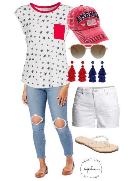 http://liketk.it/3hRET #liketkit @liketoknow.it #LTKstyletip #LTKunder50 #ltkseasonal 4th of July look; red white blue style; Levi's, white denim shorts, star top, star tee, america hat, tassel earrings