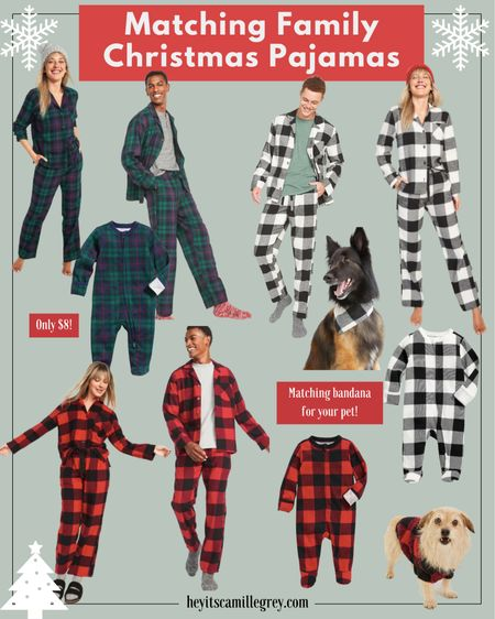 Matching Christmas Pajamas for the family! From Old Navy Red plaid, black plaid, green and blue plaid matching set for toddler, kids, women, men and even your pet! I would say that everything fits true to size   #LTKSeasonal #LTKHoliday #LTKfamily