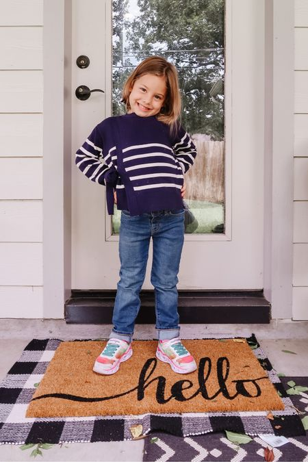 Yay for sweater weather!  #ad Jordan picked out this wrap sweater and couldn't wait to wear it!  It's by Free Assembly at Walmart and they have a darling line of kids clothes you that won't break the bank!  Her jeans are by Free Assembly too! #FreeAssemblyd #WalmartFashion    #LTKunder50 #LTKSeasonal #LTKkids