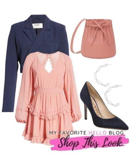 Mini blush dress date night, mini pink dress wedding guest dresses, pink dress with navy blazer, pink dress and navy pumps http://liketk.it/3ihZs #liketkit @liketoknow.it  #blushdress  #LTKshoecrush #LTKworkwear #LTKunder100