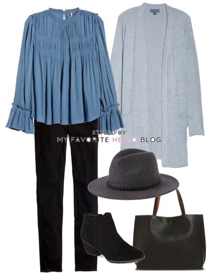 Winter outfit with black jeans and blue cardigan and black booties   #LTKstyletip #LTKSeasonal #LTKshoecrush