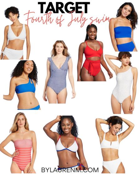 Target swim 20% off for three days online only! Here are a few fav red white and blue swimsuit options! Americana summer swim suits. 4th of July, Fourth of July @liketoknow.it #liketkit http://liketk.it/3i3Mu #LTKunder50 #LTKsalealert #LTKunder100