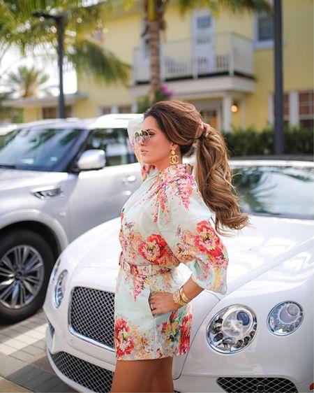 Zimmermann, Floral Romper, Spring Outfit Ideas, Chanel Earrings, Chanel Sandals, Emily Ann Gemma, Palm Beach, What to wear in palm beach http://liketk.it/3eIHN #liketkit @liketoknow.it