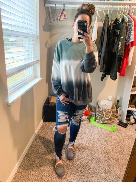 Woke up & decided to put on something other than a Graphic Tee Leggings😂 I cant tell difference though cause I'm so comfortable!  This Crewneck sweater shirt is comfy and feels like butter! in medium I'd say it's true size. It's currently sale for $20 too👀😍 The jeans are EVERYTHING! Idk who made #AmericanEagles jean's, but they did that👏🏼👏🏼I'm wearing size six fit perfectly. They have some stretch them you can pop, lock, drop it not worry about ripping. 10/10 recommend both the house shoes too😂🙈 y'all knew that since can't stop haha #LTKStyleTip #Momfits #SimpleOutfits  #LTKunder100 #LTKsalealert #LTKunder50