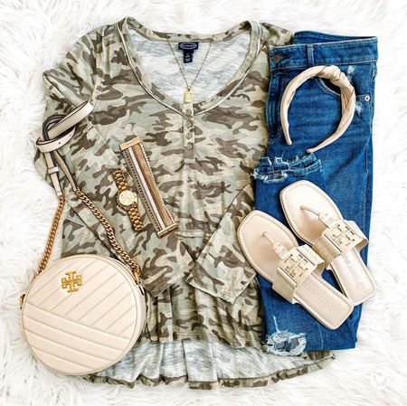 Hooray!! This best selling bag and matching sandals are now 25-30% OFF + FREE shipping! The bag is so versatile and comes in black too. You can't beat getting it for more than $135 off! These sandals are very comfy, go down a half size for the best fit. We also linked this under $20 camo top that comes in lots of colors! 🛍 Shop it all via the LTK app. Or head to our blog and click the Shop Our IG tab. ☺️ Have a great day!   #LTKitbag #LTKstyletip #LTKsalealert