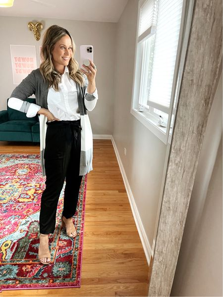 business casual outfits from amazon: These pants are under $25 and so comfy! This sweater is one of my favorites for fall and this button down shirt is another amazon find!   #LTKstyletip #LTKunder50 #LTKworkwear