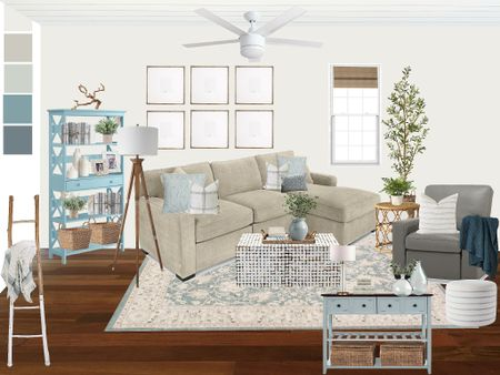 Design for a Family room update! Neutral Macy's furniture with aqua accents!   #LTKhome
