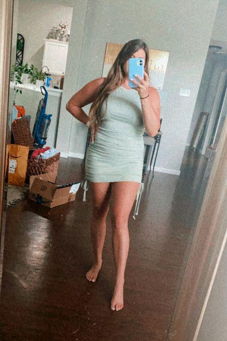 Ruched dress, amazon ruched dress, amazon dress, affordable dress, affordable fashion, spring dress, bodycon dress, fitted dress, flattering fitted dress  #LTKunder50 #LTKSeasonal #LTKstyletip