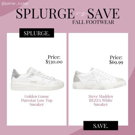 Check out this Splurge V. Save - Fall Sneakers edition. A fantastic Goldengoose dupe made by Steve Madden! | #fallsneakers #popularsneakers #designersneakers #goldengoose #goldengoosesneakers #stevemadden #fallfootwear #JaimieTucker  #LTKstyletip #LTKshoecrush #LTKGiftGuide