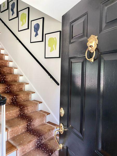 Entryway, silhouette, art, lion brass door knocker, antelope stair runner, rug  #LTKfamily #LTKhome