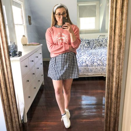 Layered this soft sweatshirt over my gingham babydoll dress, then tied it around my waist when it warmed up! Also can't get enough of my white sneakers—so comfy!  #LTKstyletip #LTKSeasonal #LTKbump