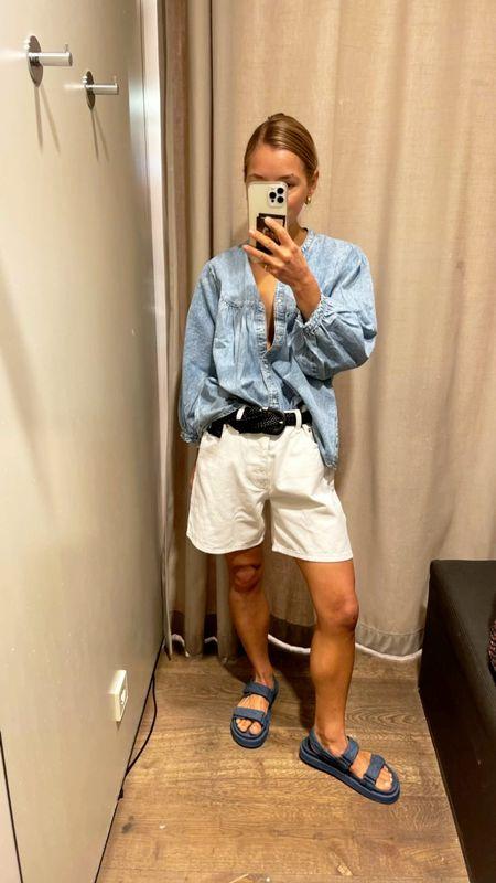 Denim #denimshorts #denimblouse #denim #ootd #outfitoftheday #whitepants #whiteshorts #denimshorts #denimlook #oversizedshorts #sandals #bluesandals   #LTKunder50 #LTKeurope #LTKunder100