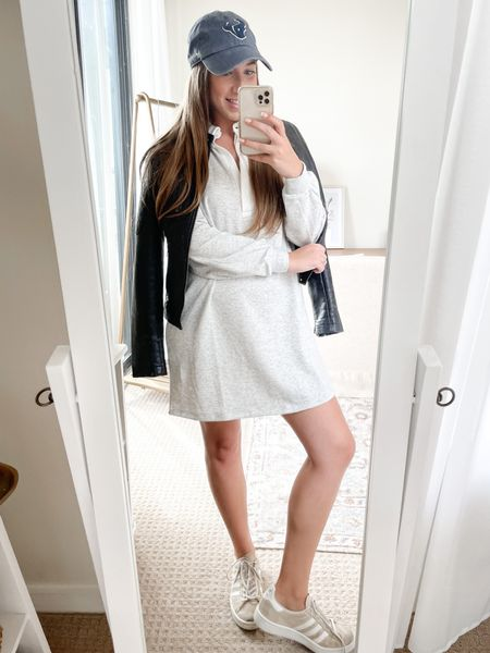 Football game outfit inspiration! Obsessed with this rugby dress and faux leather moto duo.   #LTKunder50 #LTKstyletip