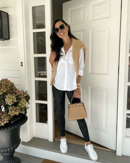 """My go-to travel outfit or everyday look when I want to feel put together!  You can never go wrong with a classic white button down and legging! I love QVC's """"We See You"""" tag line which offers an inclusive sizing range for all. ❤️ Use code OFFER for $10 off an order of $25+ for first time customers, and HELLO10 for $10 off an order of $25+ for second time customers @QVC #ad"""