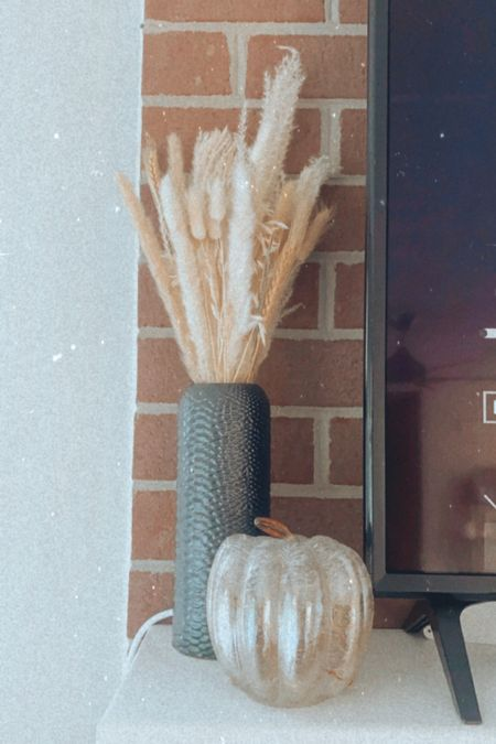Fall decor! Target finds. Amazon finds. Pampas grass. Glass pumpkin. Black vase. Halloween decor.   #LTKunder50 #LTKhome #LTKSeasonal