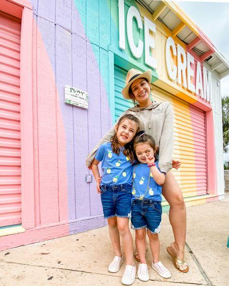 Summer style. Little girl jean shorts lemon shirt. Summer outfit sisters. High waisted cut off shorts. Beach hat. Straw hat. Fedora.    http://liketk.it/3aAo9 #liketkit @liketoknow.it #LTKSeasonal #LTKfamily #LTKtravel @liketoknow.it.family
