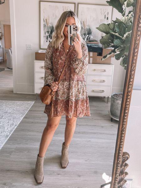 Wearing xs in dress // boots tts // fall dress // fall outfit // fall family photos // wedding guest dress // designer bag //   #LTKstyletip #LTKwedding #LTKshoecrush