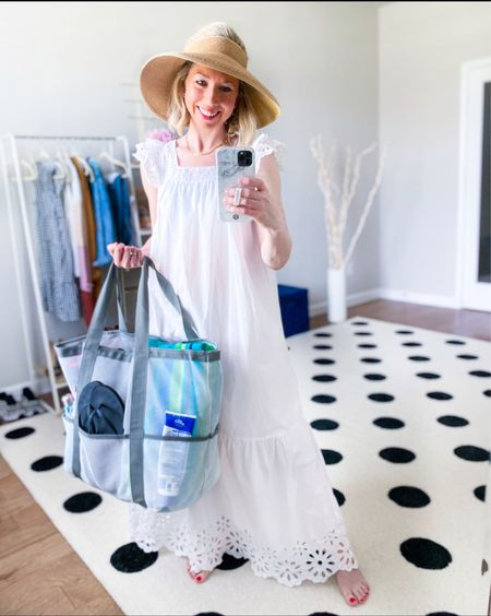 Summer travel essentials   White dress has pretty detail on the sleeve and hem- runs long - I'm 5'3 and it just touches the floor in the back when in bare feet  Dress isn't lined  so planning to wear as a coverup  - also comes in a pretty orange color   Wearing in XS  Beach bag with great ratings- lots of pockets - comes in other colors; is mesh so doesn't hold onto sand   Foldable sun hat is easy to pack for the pool or beach    Vacation outfit , beach vacation , summer travel , white dress #ltkseasonal #ltkstyletip #ltkitbag amazon finds, amazon fashion , target style , summer dresses   #LTKswim #LTKunder50 #LTKtravel