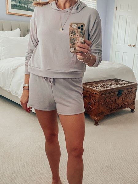 The most comfortable mix and match loungewear set! Wearing an XS in the shorts. They hit at the hip. The hoodie is a S, and runs short. I would suggest sizing up. Super soft. Under $50 and so comfy!  #LTKunder50