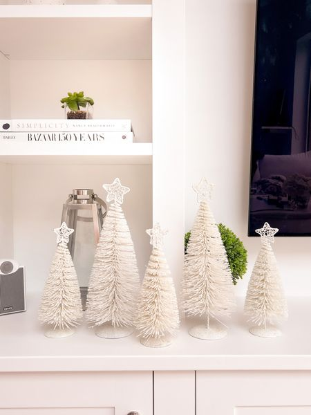 """First amazing Christmas decoration find of the season! ✨ 🎄  Bought these bargain little bottle trees to make up our table scape on Christmas Day 😍 Bought 3 of the 10"""" and 2 of the 14"""" ❤️"""