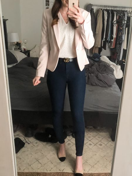http://liketk.it/3er9u #liketkit @liketoknow.it spring work outfit, blush blazer with polka dot top, dark wash jeans and Chanel inspired slingbacks. Everything runs TTS but shoes which run 1/2 size large so I sized down from a 7 to 6.5. #LTKworkwear business casual, smart casual, real estate