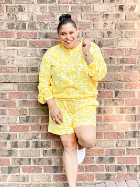 Floral sweatshirt shorts set from Target. Comfy transition set   #LTKSeasonal #LTKunder50 #LTKstyletip