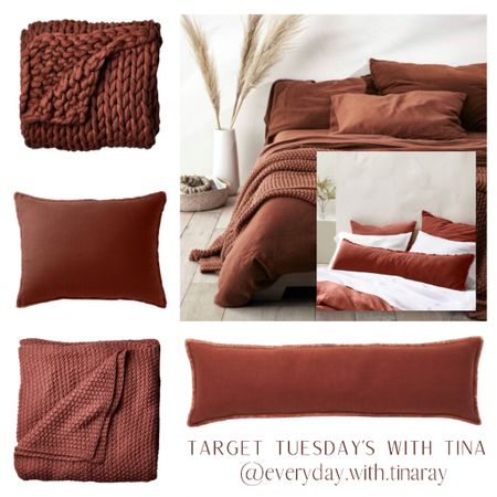 • Target Tuesday's with Tina • 🍂🍂🍂🍂🍂🍂🍂🍂🍂🍂🍂  We are heading into the coziest time of year, my favorite time of year 🤎  I like to start incorporating fall with color around this time, with throw pillows and throws, bedding, foliage, mood lighting, vases and candles. It gives a nod to autumn 🍂 sets the mood for what's to come. I'm a Midwest girl, so fall will be here before we know it!   We have this bedding collection (minus the chunky throw blanket, yet!). It is super soft! The color is gorgeous! The pillows are amazing!  Swipe over to see some accessories I've paired with this bedroom inspo to complete the look!     #LTKsalealert #LTKstyletip #LTKhome