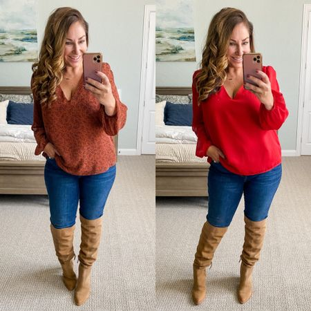 Gibsonlook x The Recruiter Mom Gathered Shoulder Blouson Sleeve V-Neck Blouse perfect for fall use code RYANNE15 for 15% off   Blouse, L // KUT Jeans tts, 12 // boots size up 1/2  Fall outfits  Family Photos  Fall Blouse  #LTKSeasonal #LTKsalealert #LTKunder100