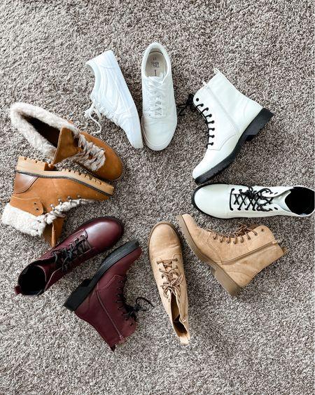 Wide width fall boots, lug boots, combat boots, all from Walmart @walmartfashion @shop.ltk #liketkit {AD} #walmartfashion    #LTKshoecrush