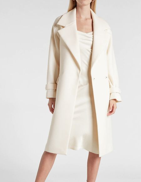 Ivory belted wrap coat   #LTKworkwear #LTKSeasonal #LTKstyletip