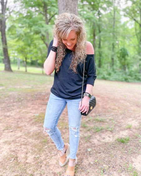 Size small off the shoulder Amazon top / American Eagle jeans fit TTS size 4 short / wedge heels fit TTS / chain purse / date night outfit / graduation party look / style / dressy #liketkit @liketoknow.it #LTKstyletip #LTKunder50 #LTKitbag  http://liketk.it/3g6Cb