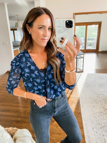 Navy floral bodysuit!! Stunning color mix. Layered a lace bandeau underneath.  Perfect with black or regular denim.  Puff shoulder detail.  Size small @shop_avara - discount code: twopeas15   #LTKSeasonal #LTKunder50 #LTKstyletip