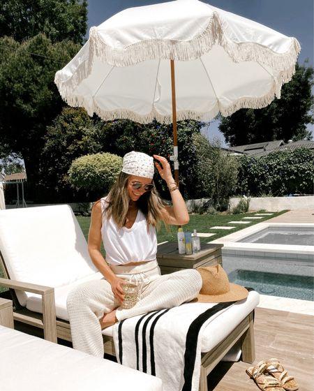 Crochet coverup pants + basic white tank //   #LTKswim