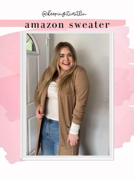 Amazon duster. Longline cardigan. Wearing xxl    #LTKcurves #LTKunder50 #LTKSeasonal