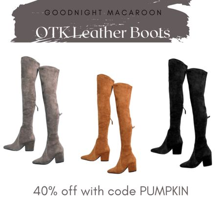 http://liketk.it/2VN6U @liketoknow.it #liketkit goodnight macaroon over the knee leather boots 40% off with code pumpkin