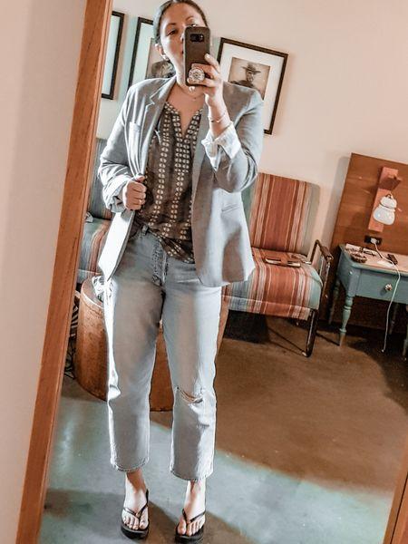 Light grey blazer (Banana Republic old), floral Jacquard Peasant-Sleeve Blouse, High Rise Distressed Cheeky Straight Jeans, Flatform Flip-Flop, petite pearl necklace. Summer suiting.  http://liketk.it/3hSXh @liketoknow.it #liketkit  #LTKunder100 #LTKsalealert #LTKcurves