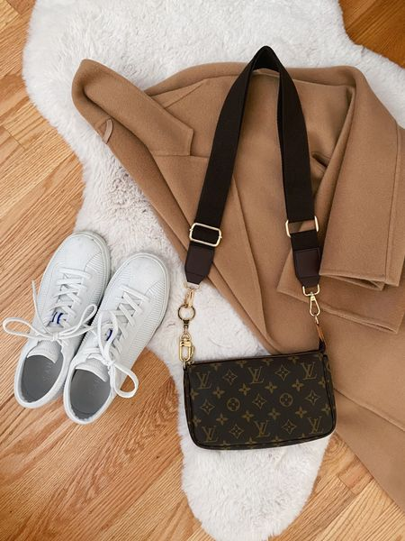 A few of my favorite things... classic double faced wool camel coat, practical Louis Vuitton pochette with bag strap, and my washable Rothy's lace ups (probably due for a wash after looking at this photo!)  #LTKSeasonal #LTKitbag
