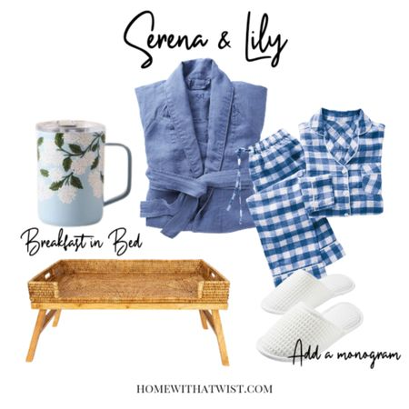 Four-star breakfast in bed with Serena & Lily linen pajamas and robe. Monogram the slippers and enjoy weekend coffee in bed with a beautiful mug and bed tray. http://liketk.it/3kLpv @liketoknow.it #liketkit #LTKstyletip #LTKhome @liketoknow.it.home Shop your screenshot of this pic with the LIKEtoKNOW.it app