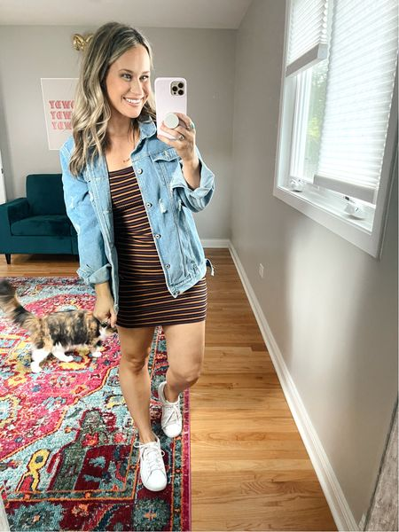 Weekend outfit ideas! This striped dress is only $8!!!!! This oversized denim jacket is an amazon fashion find and I linked all of my favorite white sneakers!  #LTKunder50 #LTKstyletip #LTKshoecrush