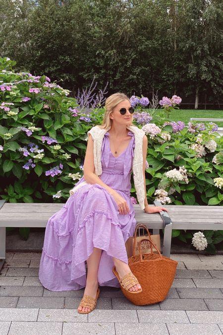 Lavender dress, floral cardigan, sandals, leather woven tote http://liketk.it/3jteQ #liketkit @liketoknow.it