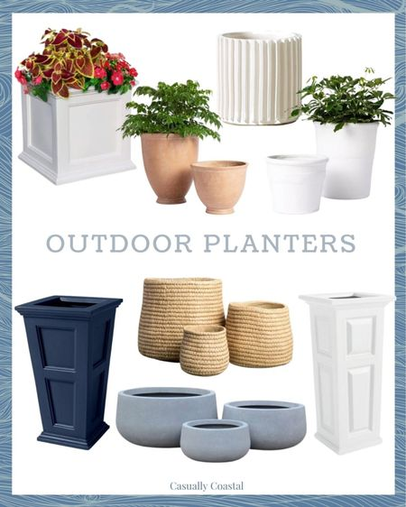 A round-up of outdoor planters in various sizes and price points! The tall planters are currently 20% off!   @liketoknow.it @liketoknow.it.home #liketkit #LTKunder100 #LTKhome http://liketk.it/3fh3i #LTKsalealert  coastal decor, beach house decor, beach decor, beach style, coastal home, coastal home decor, coastal decorating, coastal house decor, outdoor planters, deck decor, deck furniture, patio furniture, patio decor, front porch decor, summer outdoor decor, square outdoor planter, square planters, white planters, white square planters, blue planters, navy planters, tall planters, bowl planters, concrete planters, heavy planters, small planters, large planters, summer planters