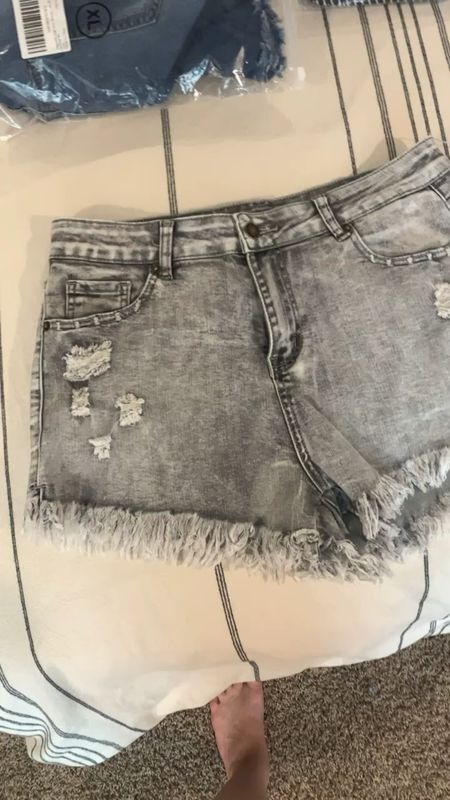 Super stretchy jeans shorts from Amazon! . . . . Jeans // Jean shorts // denim // denim shorts // shorts // Amazon style // Amazon finds // Amazon clothes // Amazon deals // Amazon shorts // destroyed denim // destroyed jeans // distressed denim // distressed jeans // Levi // Levi's // silver jeans // silver denim  #LTKunder50 #LTKunder100 #LTKstyletip