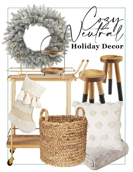 Cozy neutral holiday decor // Holiday farmhouse  #LTKunder50 #LTKHoliday #LTKhome