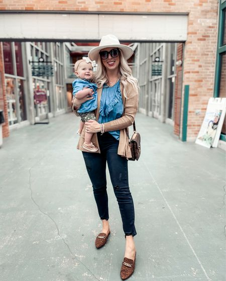 Fall style from @walmartfashion ❤️ #ad chambray, cardigan, leopard flats, baby outfit, mom style  #walmartfashion @walmart    #LTKstyletip #LTKunder50 #LTKbaby