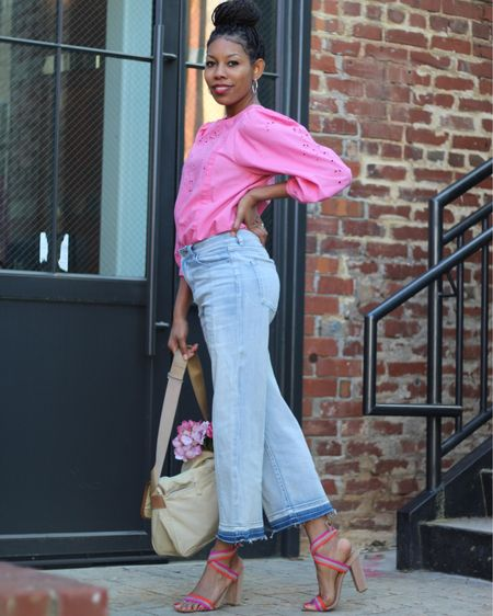 Rock then bend your knees every time the beat drop. I often wake up with a song on my heart, I guess I'm in a going out mood just like my outfit. Well you can't never go wrong with a a cute eyelet blouse and wide leg crop jeans. These are staple pieces that should be in your closet. How are you rocking today? Shop my daily looks by following me on the LIKEtoKNOW.it shopping app  . . .  http://liketk.it/3ccau #liketkit @liketoknow.it