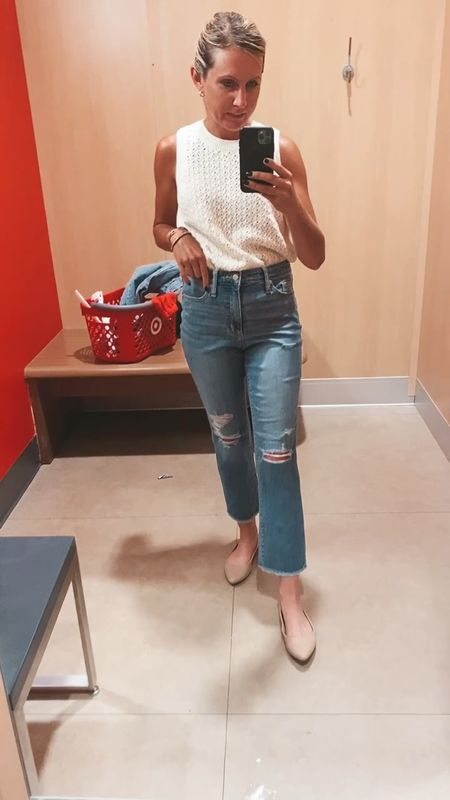 Buy these! Im obsessed. TTS, wearing size 4 here will probably order a 2. Straight legged medium wash by universal thread here are your Agolde dupe jeans. Most flattering jeans   #LTKstyletip #LTKunder50 #LTKSeasonal